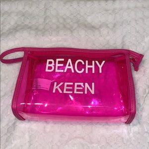 Beachy keen clear pink make up bag 💕